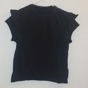 Zara black tee ruffled short sleeve 100% cotton